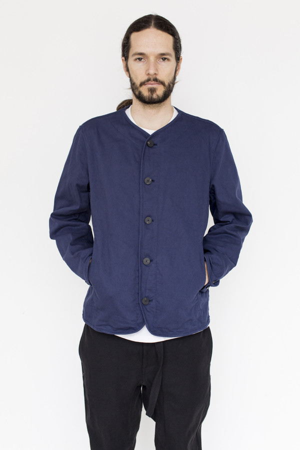 Men's Document Cotton Collarless Jacket