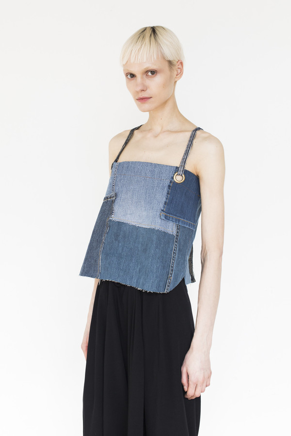 Assembly Patchwork Denim Strap Top