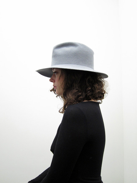 Clyde Short Brim Pinch Hat, Dove Grey
