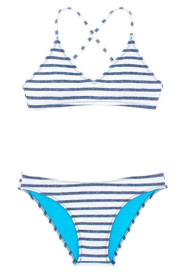 Mollusk Atoll Bikini Top Navy White