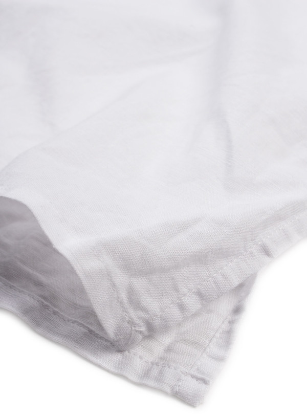 Banded Collar Long Shirt White Cotton Linen