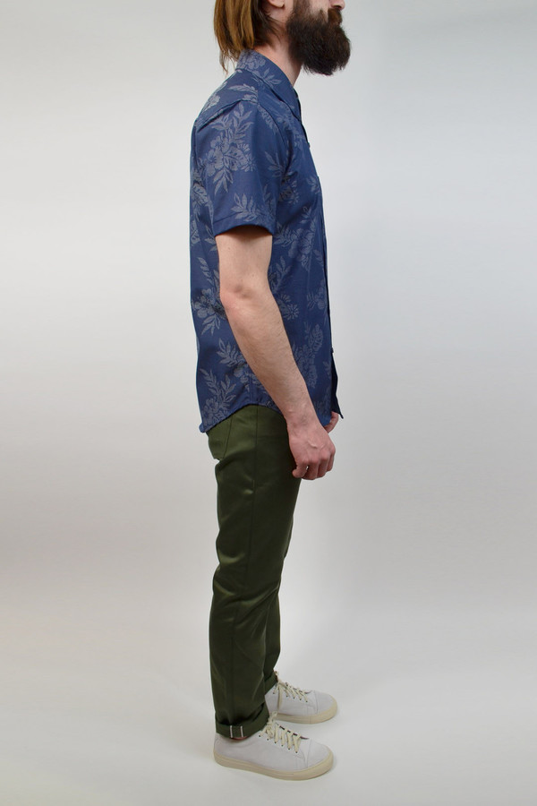 Men's United Stock Dry Goods Floral Jacquard S/S Shirt I Navy