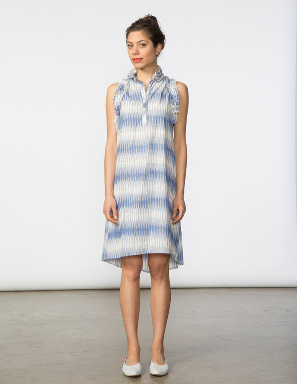 SBJ Austin Tracey Dress in Blue Ikat