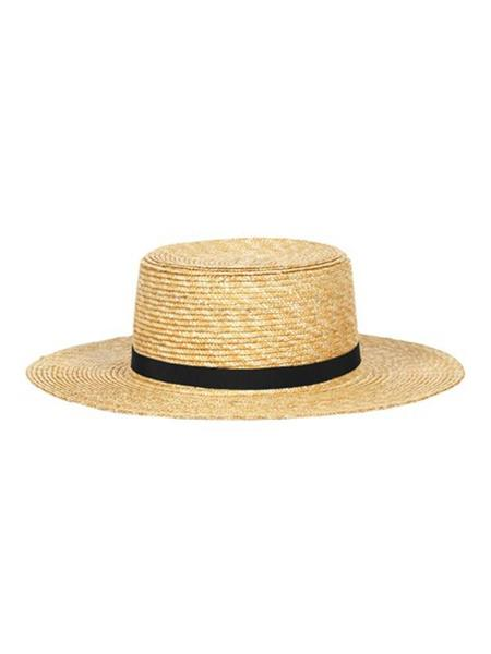 AWESOME NEEDS STRAW BOATER HAT - WHEAT/BLACK