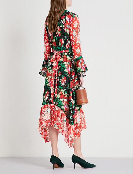 Rixo London silk leopard floral print midi dress - MULTI