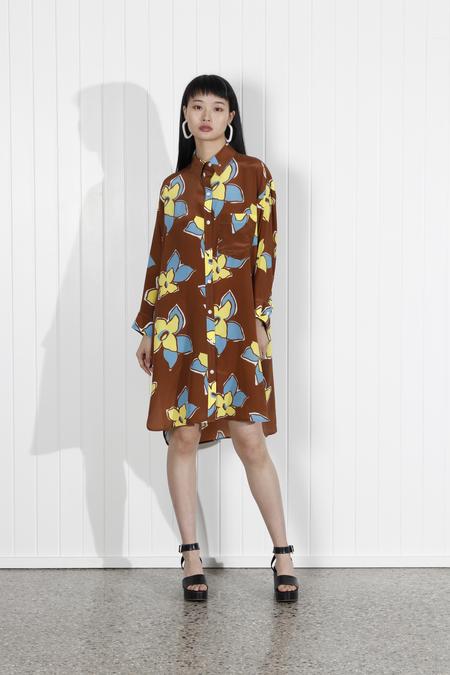 No.6 Lulu Shirt Dress - Tobacco Stargazer