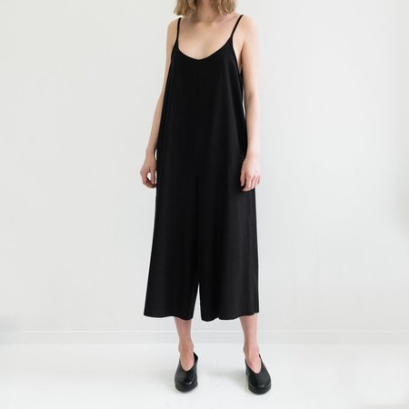 Laurs Kemp Raw Silk Cleo Jumpsuit - Black