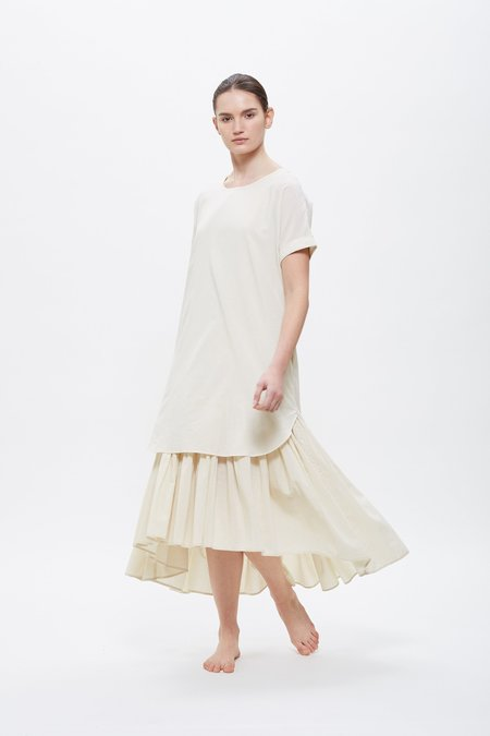 Black Crane Double Dress - Cream