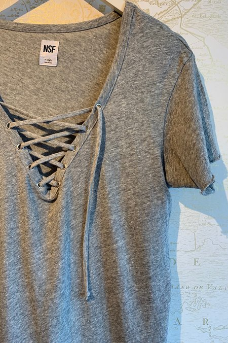 NSF Athena Front Lace Up Tee - grey