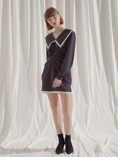 Margarin Fingers Polka Dot Drape Dress - Navy