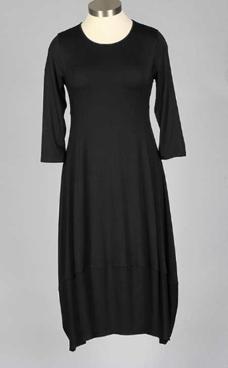 Comfy Rib Knit Dress - BLACK