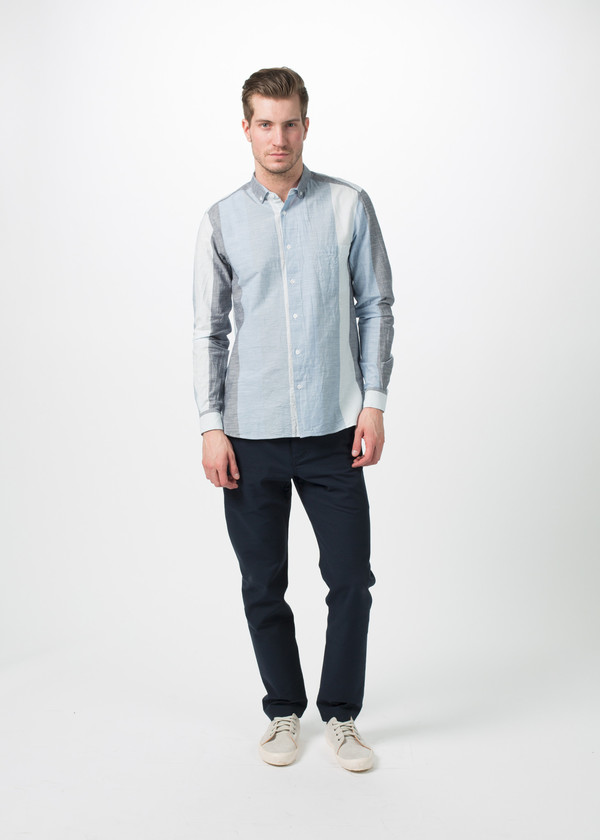 Men's You Must Create Wide Stripe Button Down Shirt