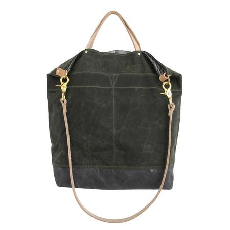 Ali Golden REVERSIBLE BAG - OLIVE/NATURAL