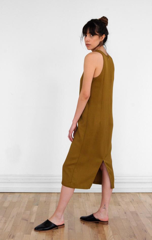 Waltz Sleeveless Racer Dress in Golden Olive