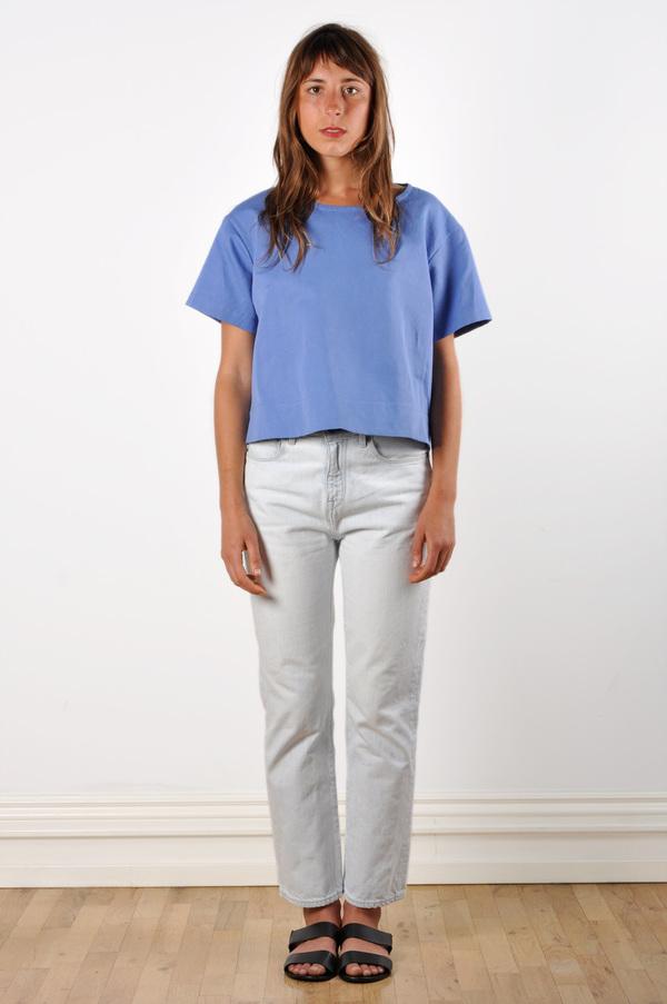 Waltz Drop Shoulder T-shirt in Cornflower Linen/Cotton Twill