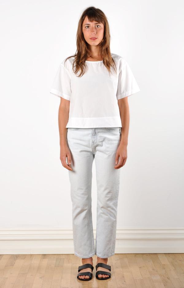 Waltz Drop Shoulder T-shirt in White Cotton Poplin