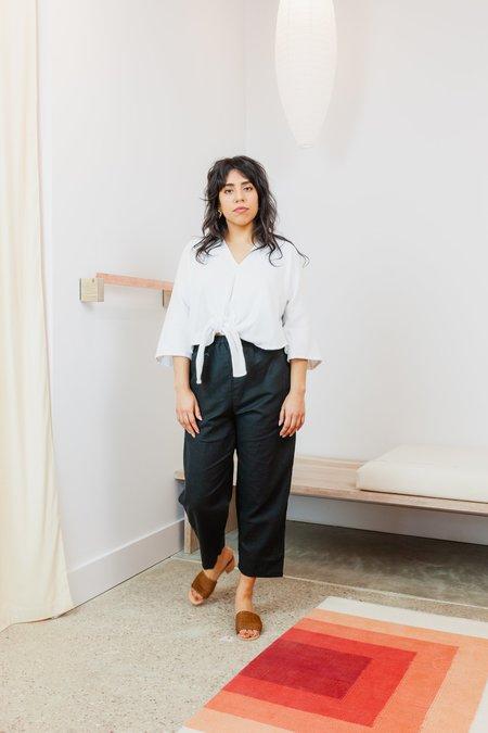 Miranda Bennett Linen Cotton Gauze Cropped Kahlo Top - WHITE