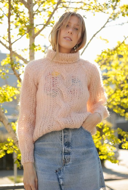 Maiami Mohair Cable Sweater - Nude