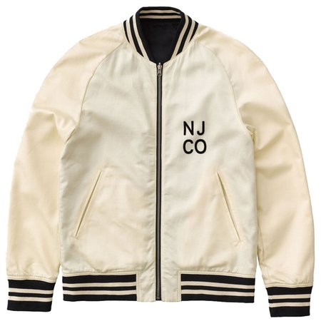 Nudie Jeans Mark Baseball Jacket - white/navy