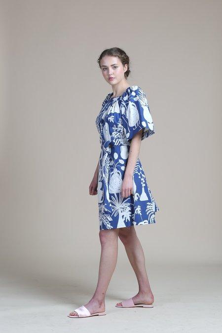 WHiT Mira Dress - Blue/White