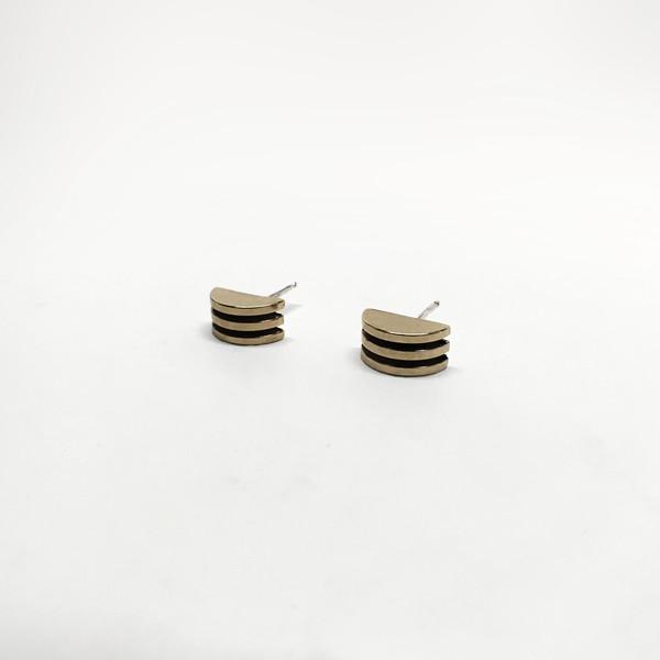 7115 by Szeki Half Moon Stud Earrings