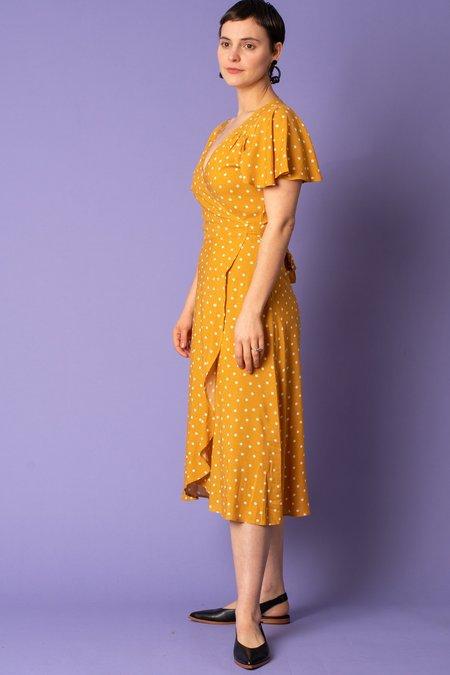 Cameo Polka Dot Wrap Dress - Mustard