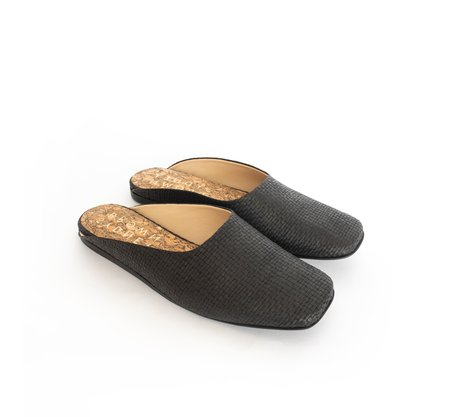 Sydney Brown Square Toe Raffia Slide - Black