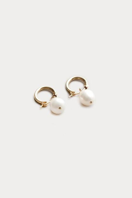 Wolf Circus Small Pearl Hoops - 14k Gold