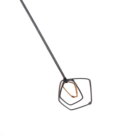 Gabrielle Desmarais single gold, double oxidized element necklace