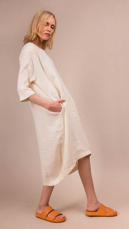 Black Crane Scallion Dress - Cream