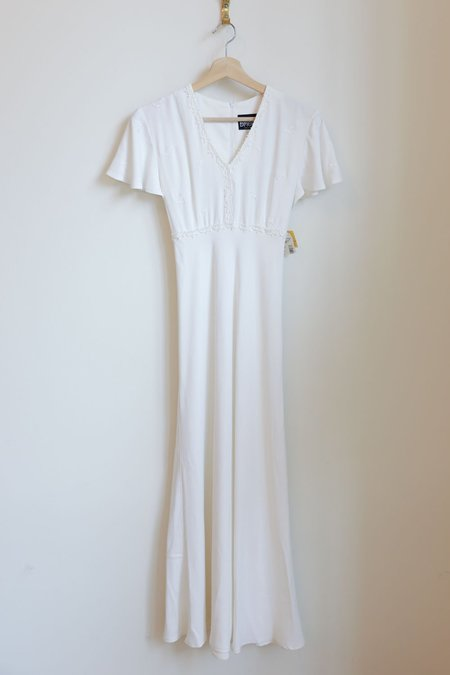 Vintage 90s Flutter Sleeve Maxi Dress - White
