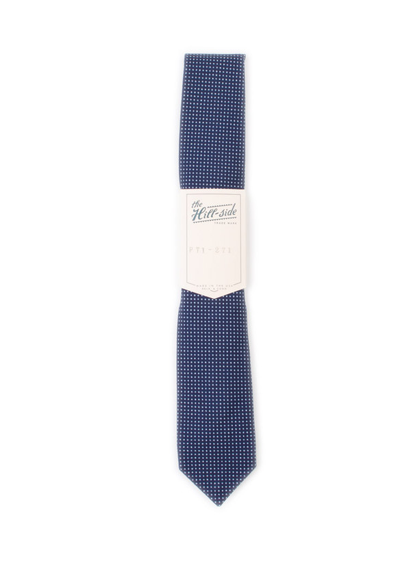 The Hill-Side Standard Pointed Tie Indigo Wabash Polka Dot