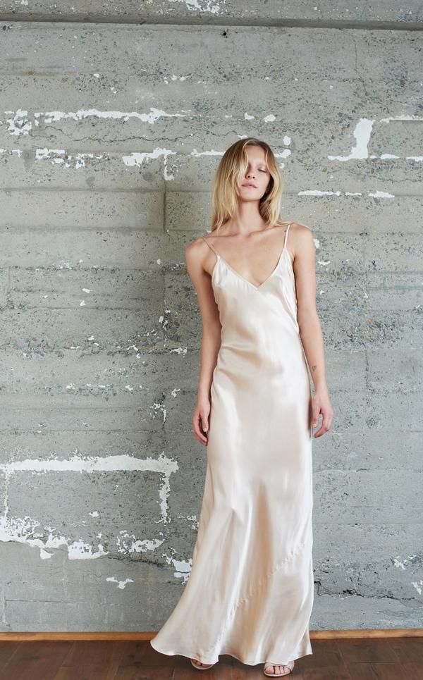 Kamperett Rosalind Silk Charmeuse Slip Dress   Champagne