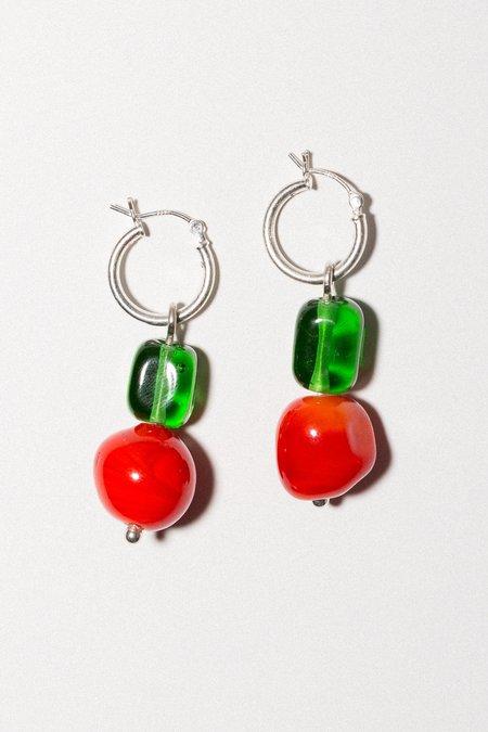 Cled Hoop Earrings - Red Coral/Green