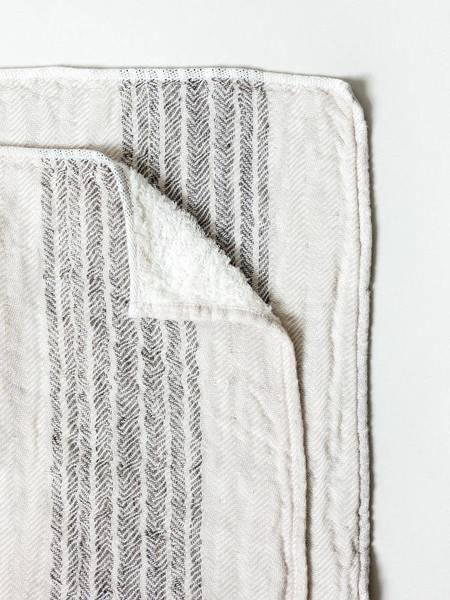 Morihata Dual Faced Striped Bath Towel - Brown/Beige