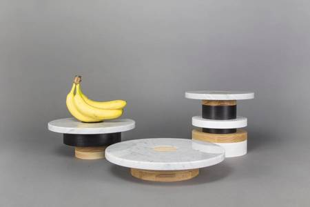 Souda Wood and Marble Pedestal (Low)