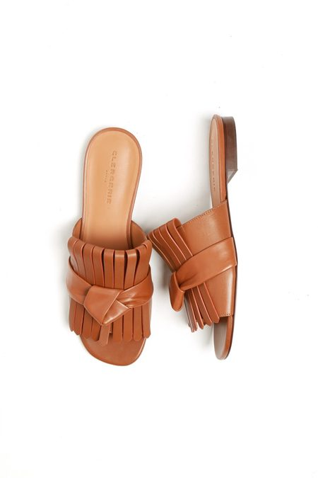 Robert Clergerie Angela Knotted Leather Slides - Brown