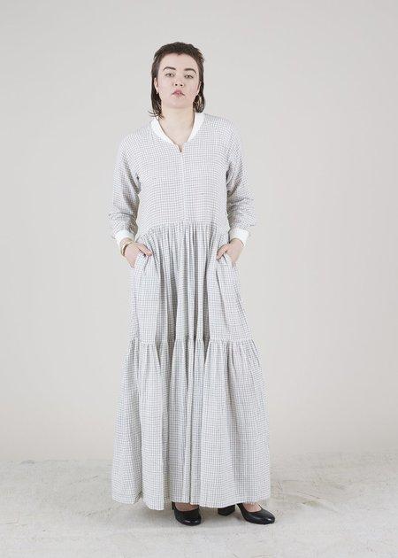 Mii Collection Raglan Sleeve Zip Dress - Off White/Check
