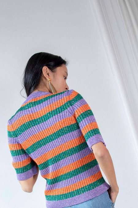 Ganni Short Sleeve Knit Top - Lurex Stripe