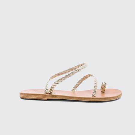 Ancient Greek Sandals Eleftheria Braided Flat Sandal - Silver