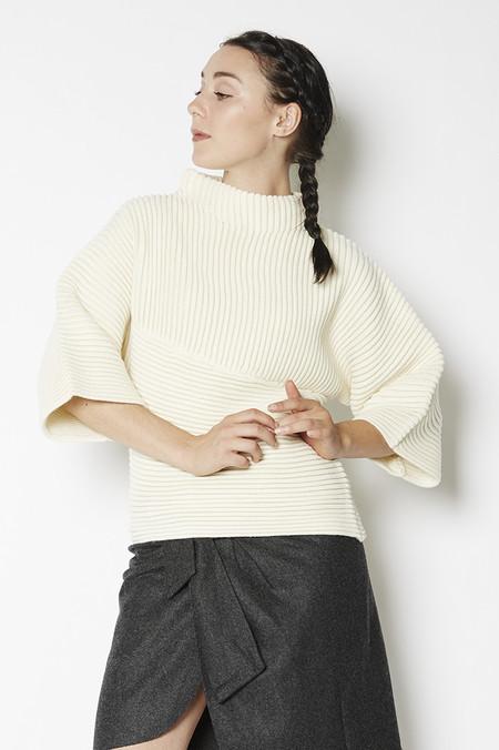 J.O.A. Textured Bell Sleeve Sweater