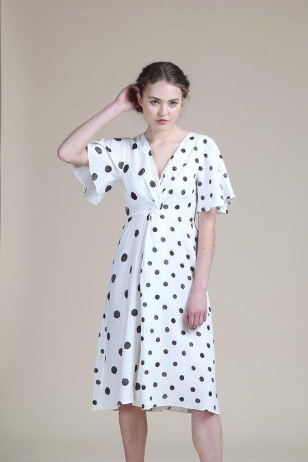 WHiT Twist Dress - White/Black Polka Dots