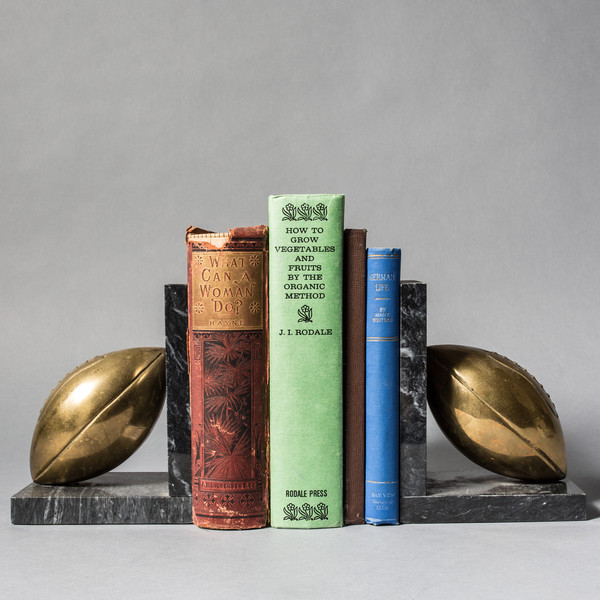 Brass and Marble Football Bookends