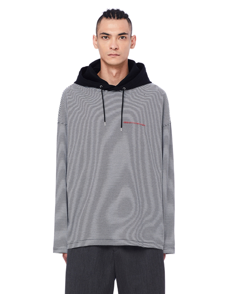 JohnUNDERCOVER Striped Hoodie - Black/White