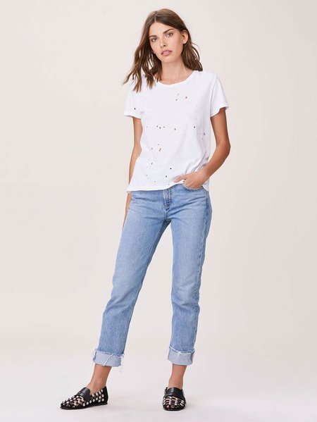 LNA Distressed Crew - White