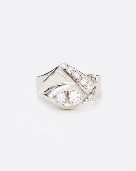 Love Adorned Vintage Geometric Diamond Ring - White Gold