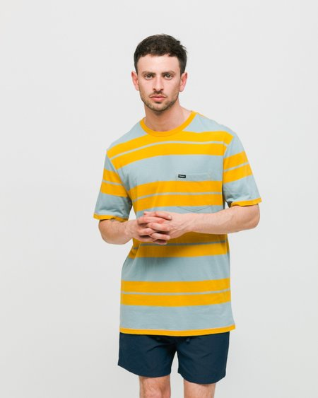Brixton Lovitz II SS Woven Shirt - Gold/Light Blue