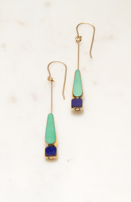 I. Ronni Kappos Tear with Bead Earring - Green/Navy