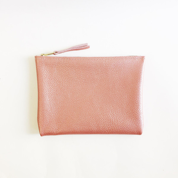 ARA Handbags - Metallic Salmon Clutch No. 1