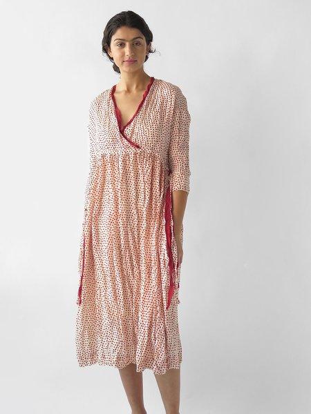 Hazel Brown Criss-cross Dress - Dots